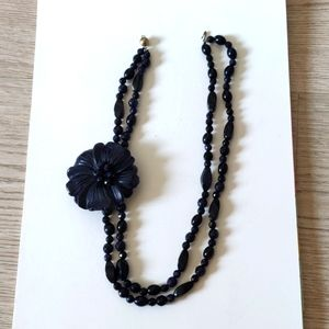 Aventurite Blue Stone Necklace with large carved flower on the side